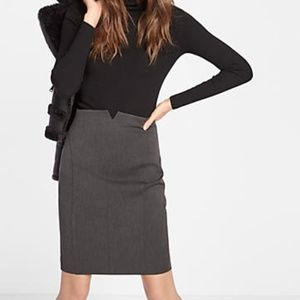 EXPRESS Solid Gray Pencil High Waisted Notch Skirt